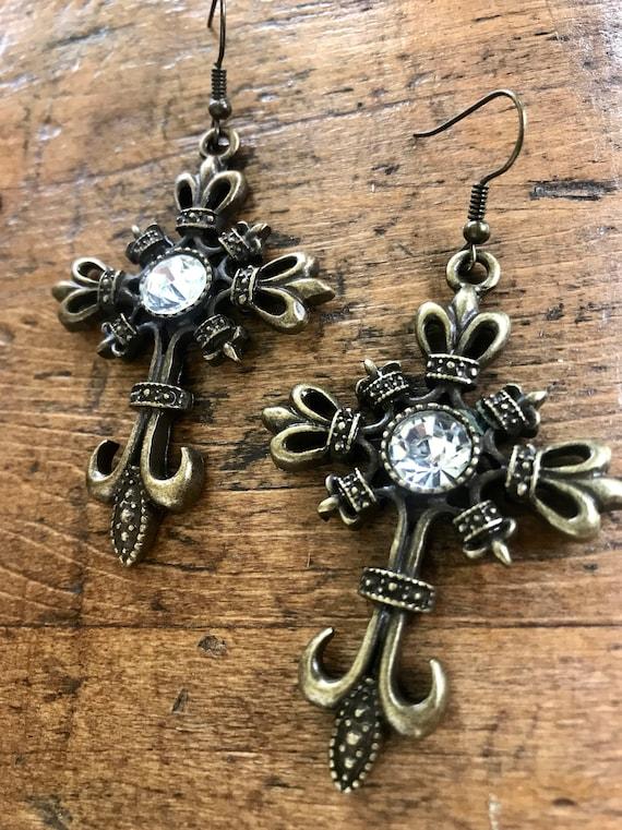Bronze Regency Cross Earrings with Crystal Detail