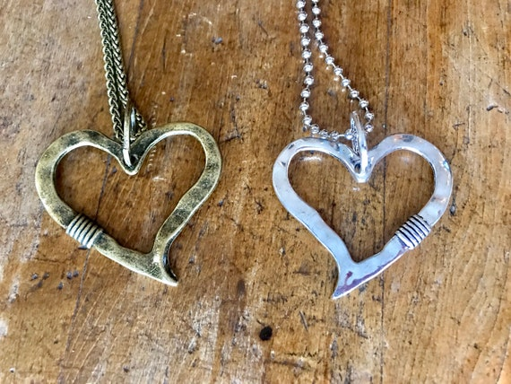 Large Heart Necklace in Silver or Antique Bronze, Pewter