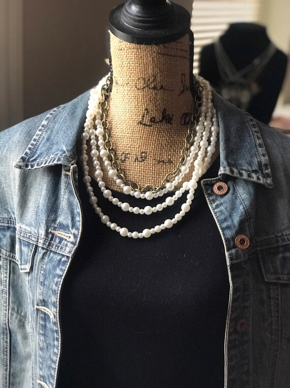 Multi Strand Pearl and Bronze Chain Necklace