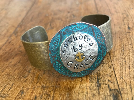 Silver/Bronze/Turquoise Anchored by Grace Cuff