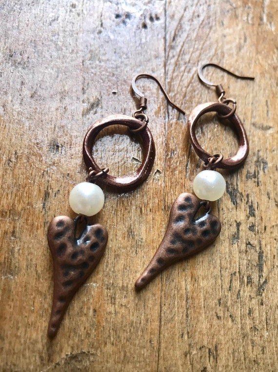 Copper and Pearl, Heart Earrings