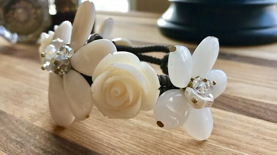 White Crystal Flower Detail Cuff