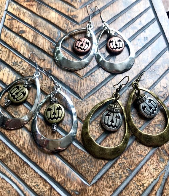 Metallic Jack-O-Lantern Earrings