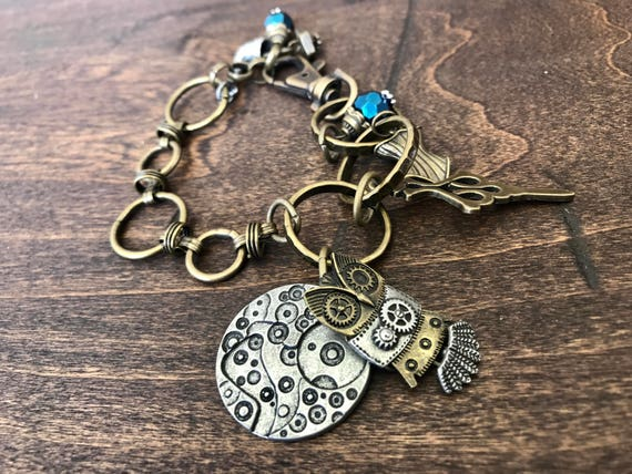 Bronze, Steampunk Owl Bracelet with Blue Accents