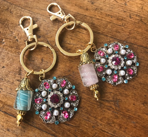 Gold and Crystal, Multi Comored Detail Keychain