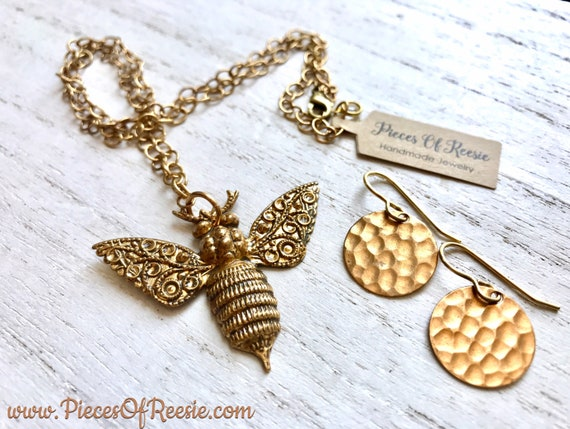 Vintage Bee Necklace and Earring Gift Set