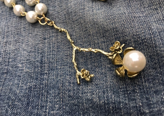 Gold Flower, Pearl Flower Necklace