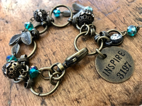 Antique Bronze & Teal, Industrial Inspire, Motivational Bracelet