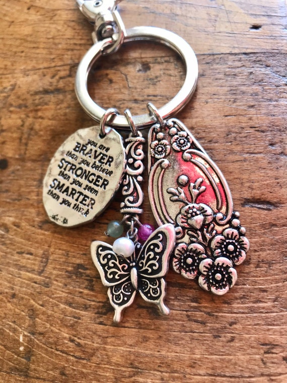 Silver Spoon, Silver Filigree Butterfly, Motivational Keychain