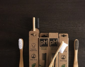 4 pack! Toothbrushes, pH balanced Bamboo biodegradable!