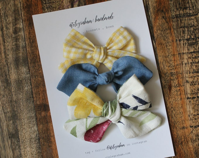 the july collection - three bow set - handmade bows & headbands - made from high quality reclaimed material