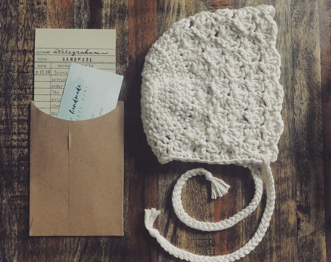 the lacy - handmade crocheted baby bonnet - made with 100 percent cotton