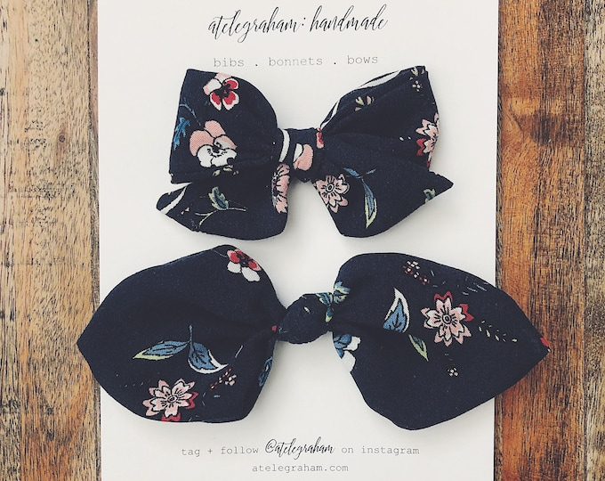 the mama and me set - the june collection - handmade bows & headbands - made from high quality reclaimed material