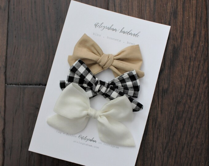 the november neutral collection - handmade bows and headbands - made from reclaimed materials