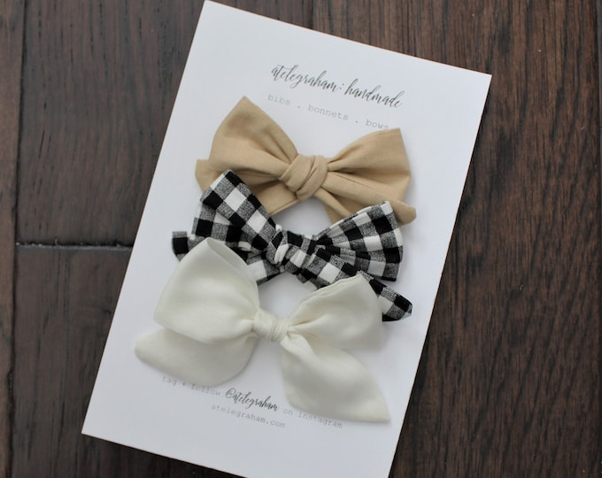 the november neutral collection - three bow set - handmade bows and headbands - made from reclaimed materials