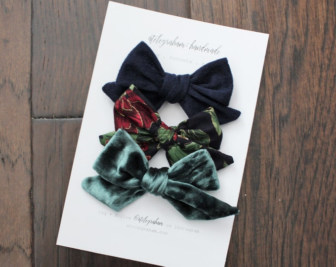 the traditional winter collection - handmade bows and headbands - made from reclaimed & vintage materials