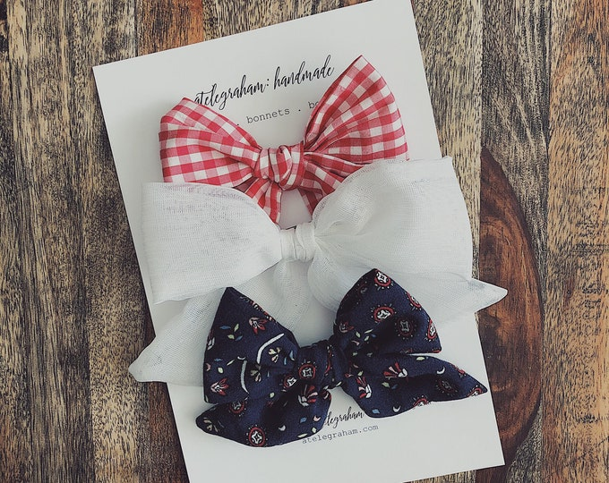 the june collection - three bow set - handmade bows & headbands - made from high quality reclaimed material