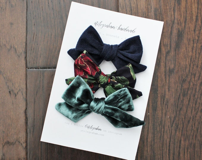 the traditional winter collection - three bow set - handmade bows and headbands - made from reclaimed & vintage materials
