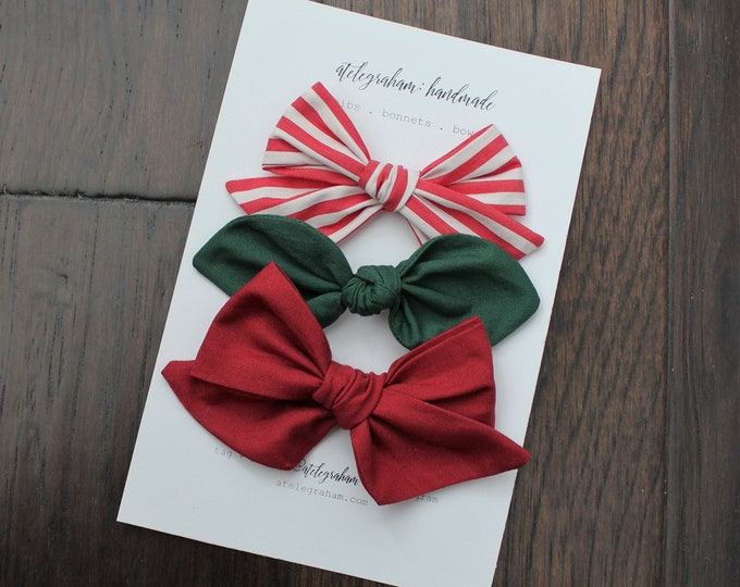 the classic christmas collection - three bow set - handmade bows and headbands - made from reclaimed & vintage materials