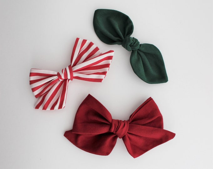 the classic christmas collection - handmade bows and headbands - made from reclaimed & vintage materials