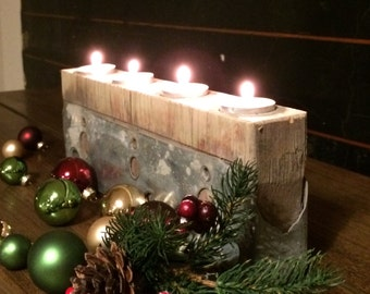 Original gift - tealight holder from the end piece of a scaffolding plank