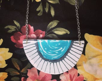 Blue half moon necklace