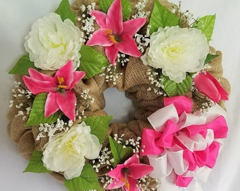 Burlap Floral Wreath, Summer Wreath , Everyday Wreath,  Floral Wall decor, Floral decor, Floral Porch Wreath, Pink and White Wreath