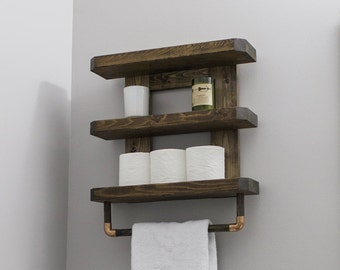 Farm House Bathroom Shelf / Wooden Bathroom Shelf / Rustic Wood Bathroom Shelf / Wooden Towel Rack / Bathroom Towel Rack / Toilet Shelf