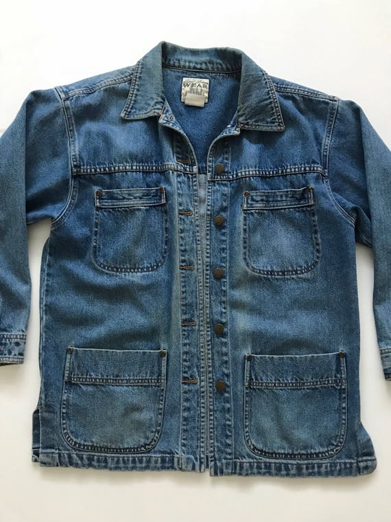 a5f5a23b301 80 s Denim chore barn coat Jacket Vintage denim workwear