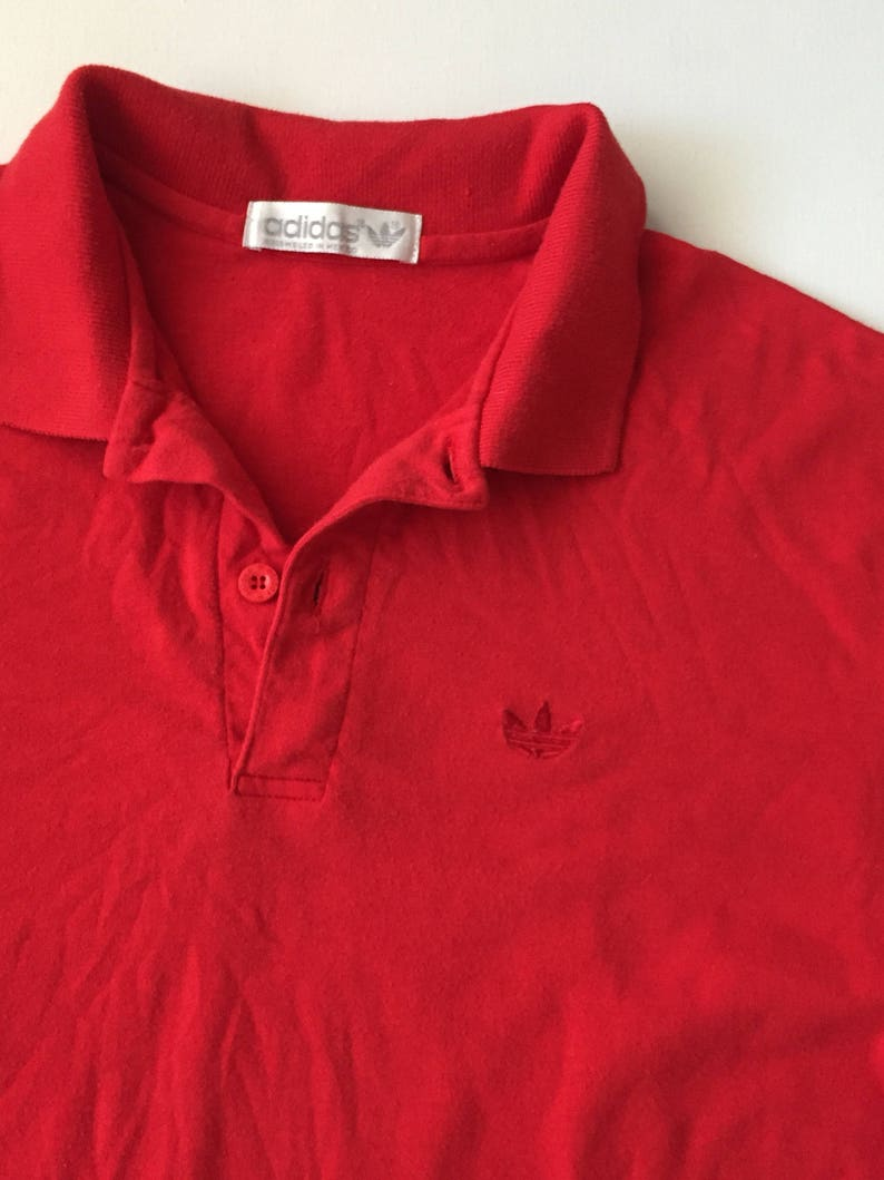 3f8d31e5 1980s ADIDAS Red Polo shirt Vintage adidas bright red polo | Etsy