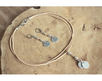 Choker necklace with earrings-silver-