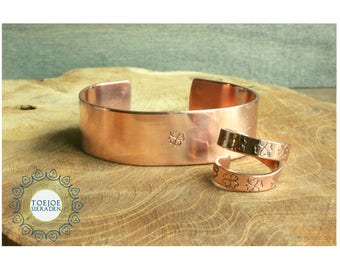 Copper bracelet and ring.