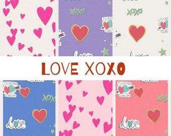 PRINTABLE Love XoXo  Digital Paper Pack Scrapbook Paper Set of 6 Sheets