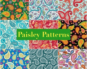 PRINTABLE Paisley Patterns  Digital Paper Pack Scrapbook Paper Set of 9 Sheets