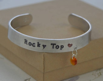 University of Tennessee | UT | Rocky Top | Knoxville | Big Orange | silver cuff bracelet with charm | hand stamped