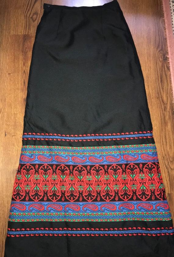 Vintage Long skirt, Vintage black skirt, Long skir