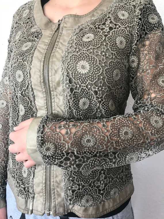 Green jacket, Vintage jackets, Women jackets, Lace