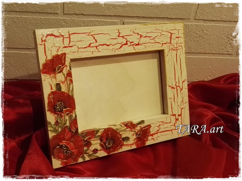 Decoupage frame, wooden frame, home decor, wall decor, wood frame ...