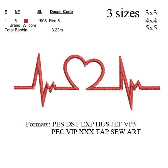 Máquina de bordar de Electrocardiograma ECG del latido del corazón. patrón  de bordado. diseños de bordados No: 476