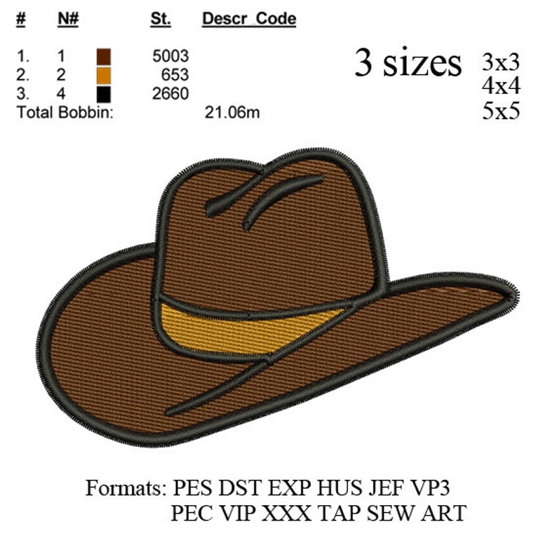 14b5fbbb6e5 Cowboy hat embroidery Designs INSTANT download machine