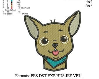 Chihuahua dog embroidery design,chihuahua dog embroidery pattern, embroidery designs No 537