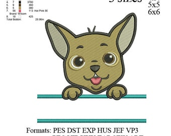 Split chihuahua dog embroidery design,chihuahua dog embroidery pattern, embroidery designs No 538