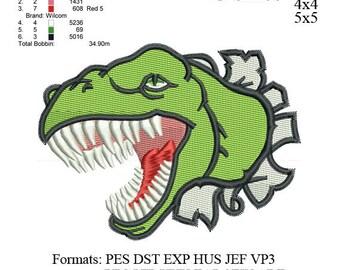 T-rex Dinosaur Embroidery Design,Trex Dinosaur embroidery pattern No 660... 3 sizes