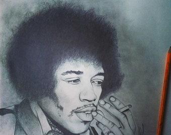 Jimi Hendrix - Hand Drawn Pencil Sketch