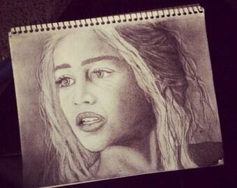 Daenerys Targaryen - Hand Drawn Pencil Sketch