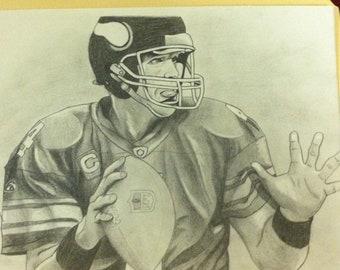 Brett Favre - Hand Drawn Pencil Sketch