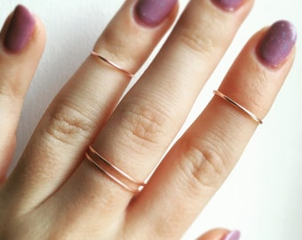 Rose Gold Midi Ring Set • Set of Three • Stacking Rings • Midi Rings • Rose Gold Rings • Rose Gold Bands