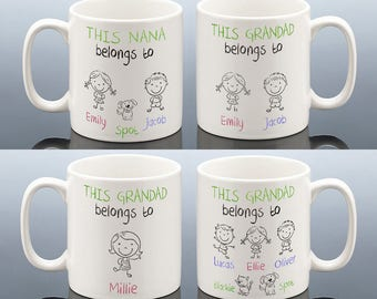 This GRANDAD BELONGS TO Mug Grandma Belongs To Fathers Day Gift Birthday Grandpa Personalised Nana Nan Cup Gran Nanny