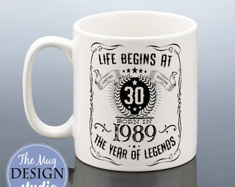 LIFE BEGINS AT 30 30th Birthday Mug For Him Gift Men 1989 Cup Legend Brother Husband Boyfriend Present