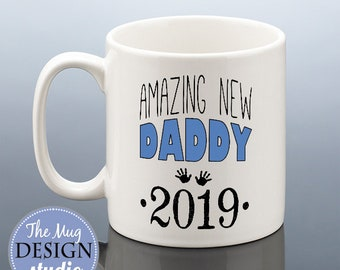 NEW DADDY Mug 2019 Daddy Birthday Gift New Dad To Be Present Cup Baby Shower Pregnancy Reveal